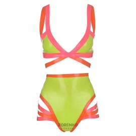 Latex Strappy Neon Bodysuit Set