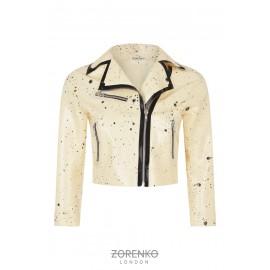 Latex Cropped Biker Jacket
