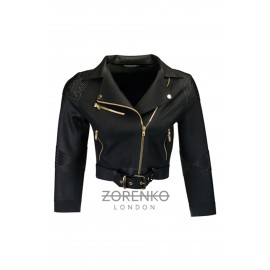 Matte & Pyramid Texture Latex Cropped Biker Jacket