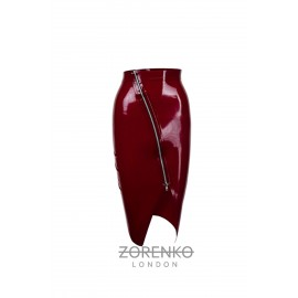 Asymmetric Zip Latex Skirt