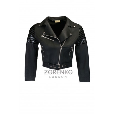 Latex Cropped Biker Jacket