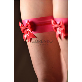 Latex Bow Garters w/ Trim