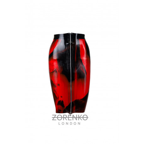Latex Marble Zip Pencil Skirt