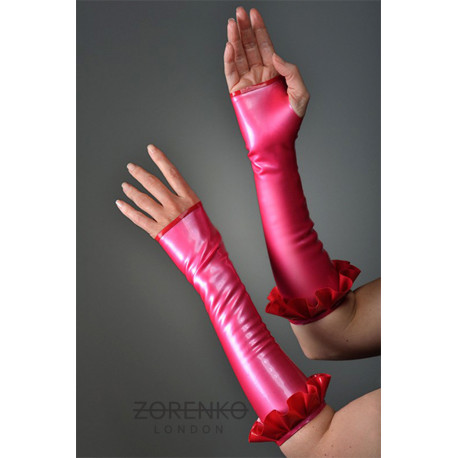 Latex Long Fingerless Gloves/Gauntlets